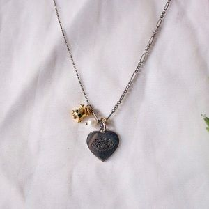 Juicy Silver Heart Necklace w/ Skull Charm